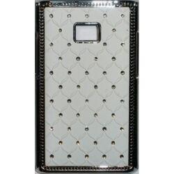 Hátlap tok, LG E400 Optimus L3 köves, fehér