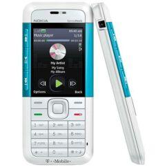 Nokia 5310 elő+akkuf, Előlap, fehér-kék