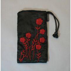 Nyakpántos tok, álló Croco virágos, fekete-piros