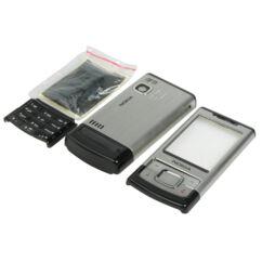 Nokia 6500 Sl komplett ház +gomb, Előlap, ezüst