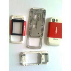 Nokia 5200 komplett ház +csúszka, Előlap, fehér-piros