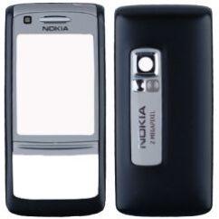Nokia 6280 elő+akkuf+gomb, Előlap, ezüst-fekete