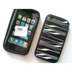 Szilikon tok, Apple iPhone 3G -gumis- (Vonalas), S-Case - fekete
