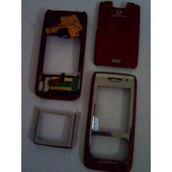 Nokia E65 elő+akkuf+köz, Előlap, piros