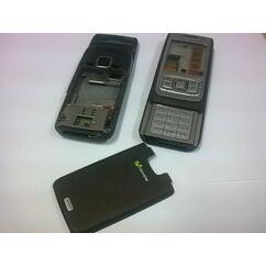 Nokia E65 komplett ház +mechanika +gomb +flex, Előlap, barna