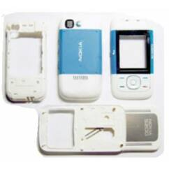 Nokia 5200 komplett ház +csúszka, Előlap, fehér-kék
