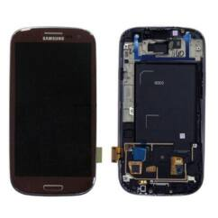 Samsung i9300 Galaxy S3, LCD kijelző érintőplexivel és előlappal, barna