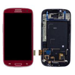 Samsung i9300 Galaxy S3, LCD kijelző érintőplexivel és előlappal, bordó