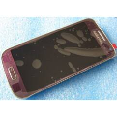Samsung i9190/i9192/i9195 Galaxy S4 Mini, LCD kijelző érintőplexivel és előlappal, lila