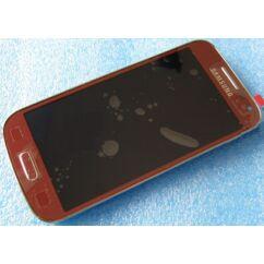 Samsung i9190/i9192/i9195 Galaxy S4 Mini, LCD kijelző érintőplexivel és előlappal, piros