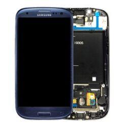 Samsung i9305 Galaxy S3 LTE, LCD kijelző érintőplexivel és előlappal, kék