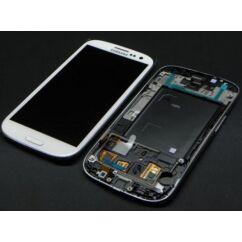 Samsung i9305 Galaxy S3 LTE, LCD kijelző érintőplexivel és előlappal, fehér