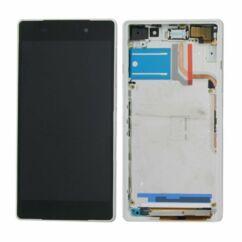 Sony Xperia Z2 D6502/D6503/D6543, LCD kijelző érintőplexivel és előlappal, fehér