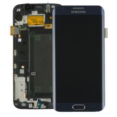 Samsung G925 Galaxy S6 Edge, LCD kijelző érintőplexivel és előlappal, fekete