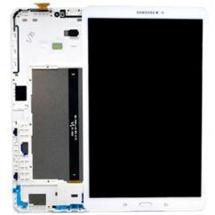 Samsung T585 Galaxy Tab A 10.1 LTE, LCD kijelző érintőplexivel és előlappal, fehér