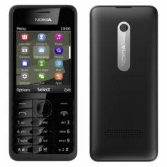 Mobiltelefon, Nokia 301, Kártyafüggetlen, 1+1 év garancia,  fekete
