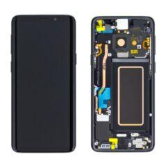 Samsung G960 Galaxy S9, LCD kijelző érintőplexivel és előlappal, fekete
