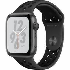 Apple Watch 4 (MU6L2) 44mm Nike+ Sport GPS asztroszürke aluminium tok, Okosóra, fekete (szíj)