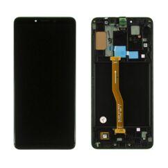 Samsung A920 Galaxy A9 2018, LCD kijelző érintőplexivel és előlappal, fekete