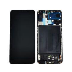 LCD kijelző, Samsung A705 Galaxy A70 érintőplexivel és előlap kerettel, fekete