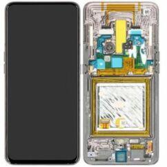 Samsung A805 Galaxy A80, LCD kijelző érintőplexivel és előlapkerettel, fekete