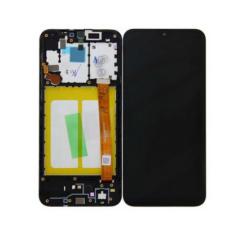Samsung A202 Galaxy A20E, LCD kijelző érintőplexivel és előlap kerettel, fekete