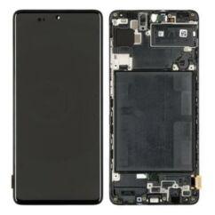 Samsung A715 Galaxy A71, LCD kijelző érintőplexivel és előlap kerettel, fekete