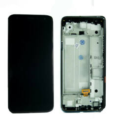 LG K40 LMX420, LCD kijelző érintőplexivel és előlappal, fekete