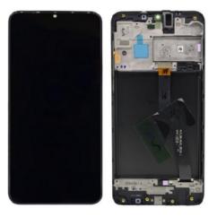 Samsung A105 Galaxy A10, LCD kijelző érintőplexivel és előlap kerettel (Csak SingleSIM), fekete