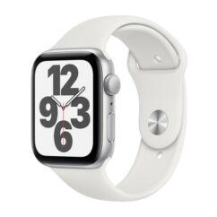 Apple Watch SE 44mm Sport, Okosóra, ezüst-fehér