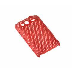 Hátlap tok, HTC Wildfire S rácsos, piros