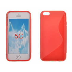 Szilikon tok, Apple iPhone 5, 5S, S-Case - piros