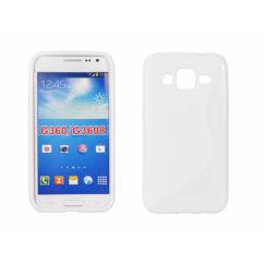 Samsung G360 Galaxy Core Prime, Szilikon tok, S-Case, fehér