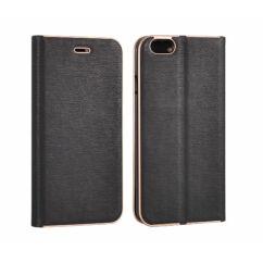 Huawei P10 Lite, Oldalra nyíló flip tok, Vennus, fekete