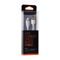 Adatkábel, Apple iPhone 5, 6, 6 Plus, 7, 7 Plus, 8, 8 Plus, X, (mágneses levehető csatlakozóval), ezüst*