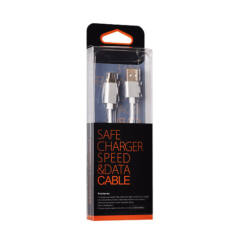 Adatkábel, micro USB - USB (mágneses levehető csatlakozóval), ezüst*