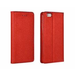Oldalra nyíló flip tok, Samsung J730 Galaxy J7 2017, Smart, piros
