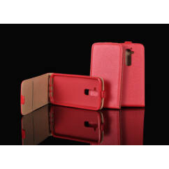 Huawei P9 Lite Mini, Lefele nyíló flip tok, piros