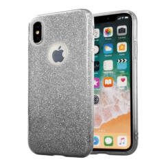 Apple iPhone 7/8/SE 2020, Szilikon tok, Bling (Csillámos), fekete