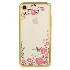 Szilikon tok, Apple iPhone 7, 8, Virágos, arany