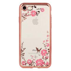 Szilikon tok, Apple iPhone X, Virágos - rose gold