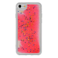 Szilikon tok, Samsung G965 Galaxy S9 Plus, Liquid (Csillámos) - piros