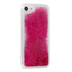 Szilikon tok, Apple iPhone 7, 8, Liquid (Csillámos), rózsaszín