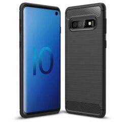 Huawei P30 Lite, Szilikon tok, Carbon, fekete