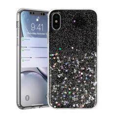 Huawei P Smart 2019/Honor 10 Lite, Szilikon tok, Brilliant (Csillámos), fekete