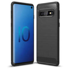 Szilikon tok, Huawei Y5 2019, Carbon, fekete