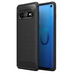 Samsung A415 Galaxy A41, Szilikon tok, Carbon, fekete