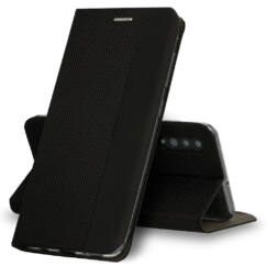 Huawei Y5P, Oldalra nyíló flip tok, Vennus Sensitive, fekete