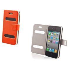 Oldalra nyíló flip tok, Apple iPhone 4, Smart - narancs