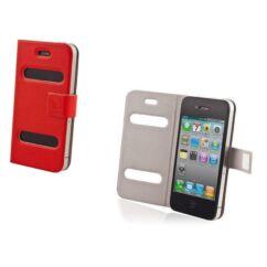 Oldalra nyíló flip tok, Apple iPhone 4, Smart - piros